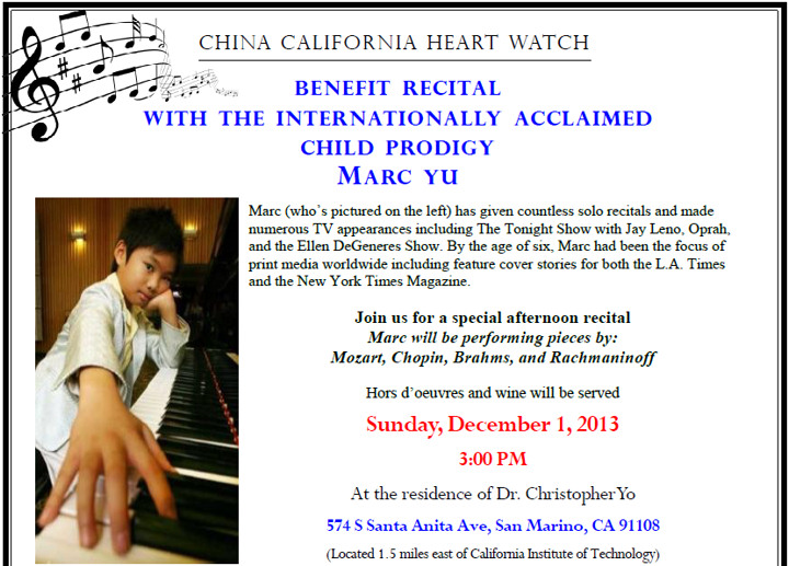 Benefit Recital with the Internationally Acclaimed Child Prodigy MARC YU