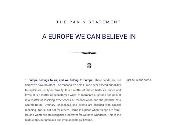欧洲保守派知识分子发声明:一个我们能够信靠的欧洲