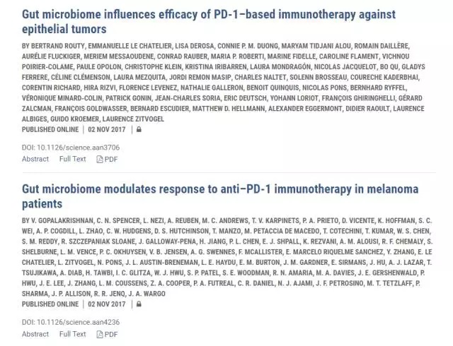 《科学》:肠道菌群的确会影响免疫疗法对肺癌、肾癌、以及皮肤癌的疗效
