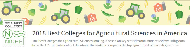 2018NICHE美国最佳农业科学专业大学排名