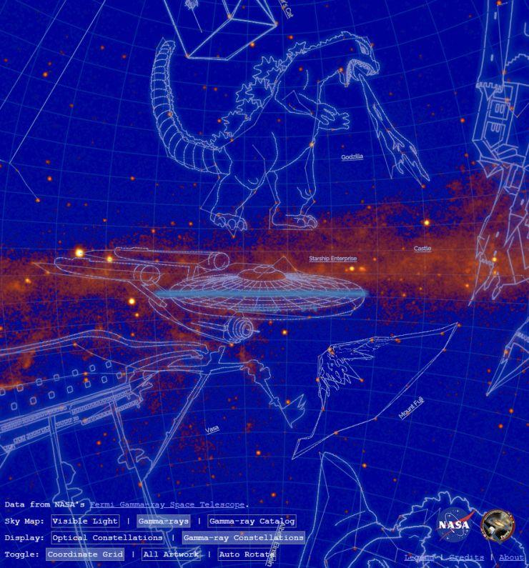 """美国宇航局(NASA)命名""""哥斯拉、绿巨人、小王子...""""约20个新星座"""