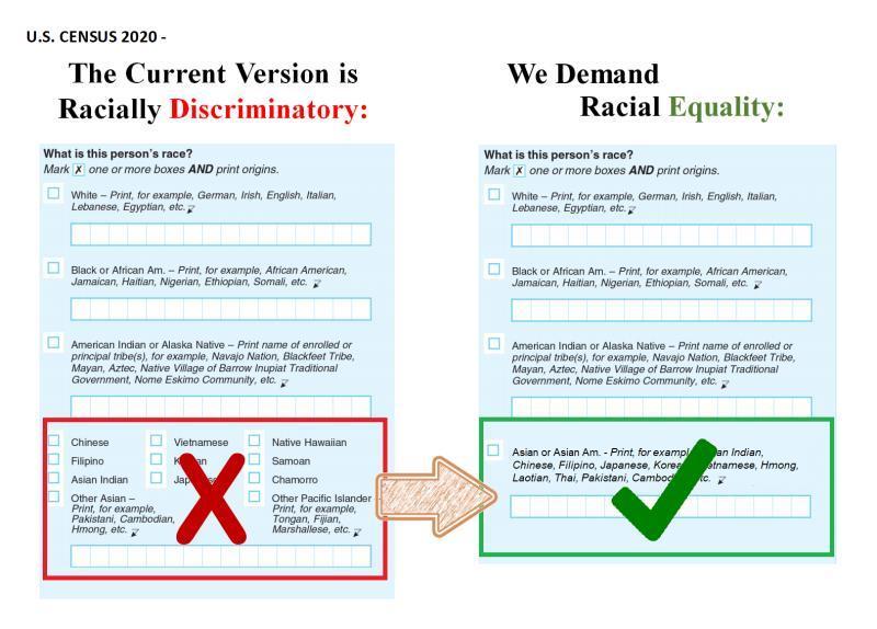 美联邦人口普查CENSUS表格歧视亚裔进行强制祖籍细分:你应该发声!