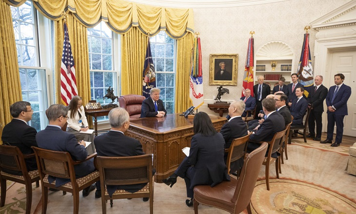特朗普总统与中华人民共和国刘鹤副总理会面时的发言